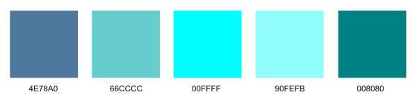 different shades of turquoise color with codes neptune 8th